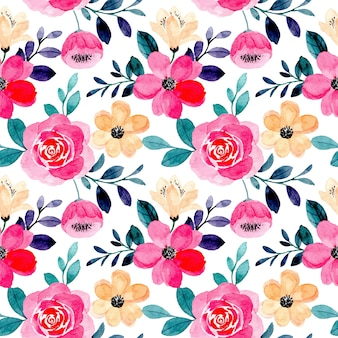Modello senza cuciture dell'acquerello floreale rosa bella