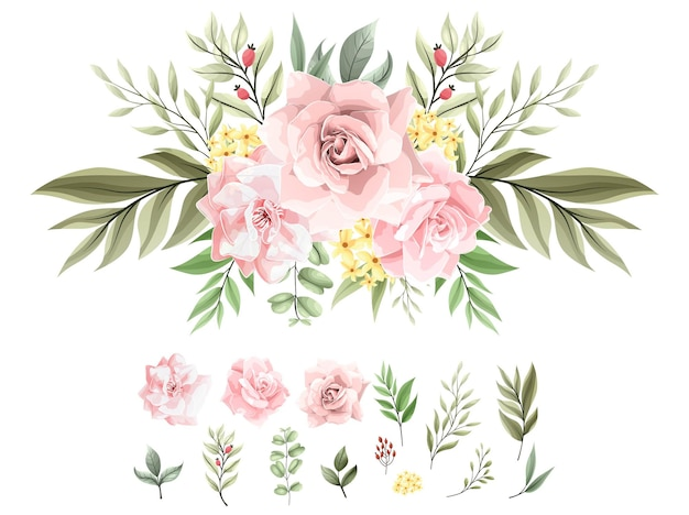 Set di decorazioni per bouquet acquerello con bellissimi fiori rosa