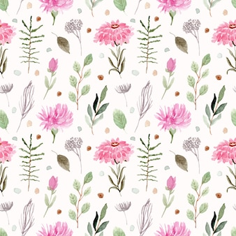 Bello modello senza cuciture dell'acquerello floreale verde rosa