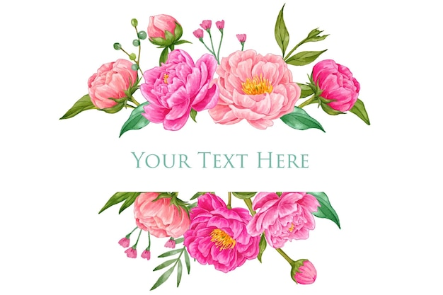 Bella rosa peonia acquerello banner