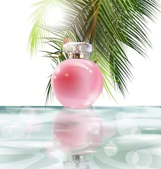 Bella bottiglia di profumo rosa su uno sfondo di acqua e foglie di palme. sfondo estivo. illustrazione vettoriale