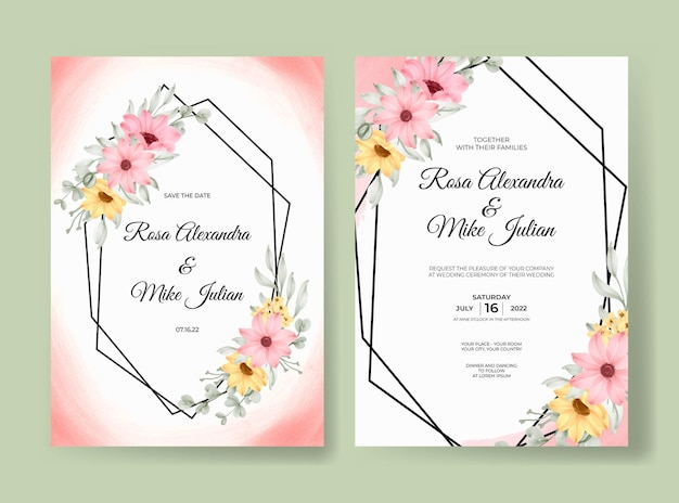 Modello della carta dell'invito di nozze dell'acquerello floreale di bella rosa rosa