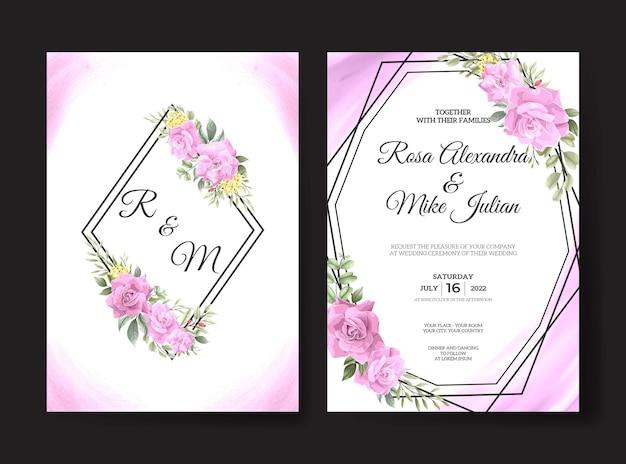Bellissimo modello di biglietto d'invito per matrimonio con rosa rosa