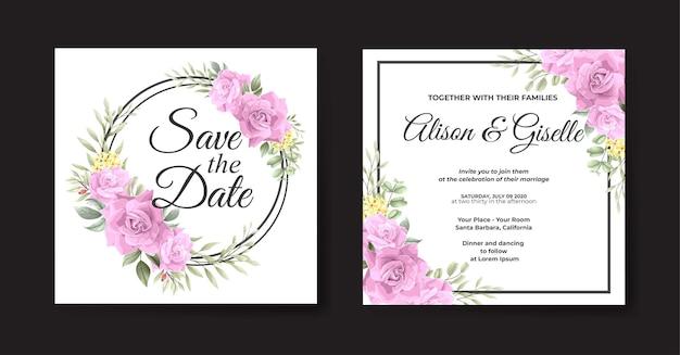 Bellissimo modello di biglietto d'invito per matrimonio rosa rosa