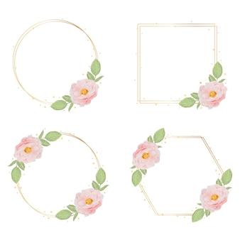 Belle rose inglesi dell'acquerello rosa con raccolta cornice dorata