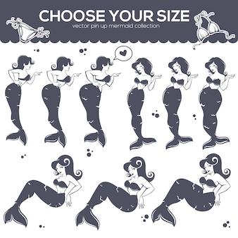 Bellissima sirena pinup, cartone animato ragazze in diverse dimensioni e forma del corpo per il tuo logo, etichetta, emblema,