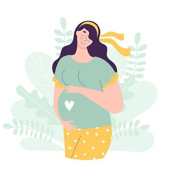 Bella donna incinta in piena crescita tiene le mani sulla pancia