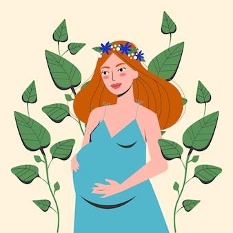 Ritratto di bella donna incinta. giovane madre in attesa