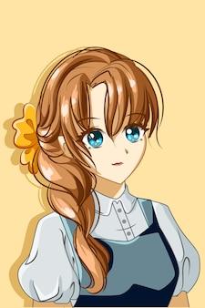 Una bellissima illustrazione del fumetto del personaggio di design della principessa