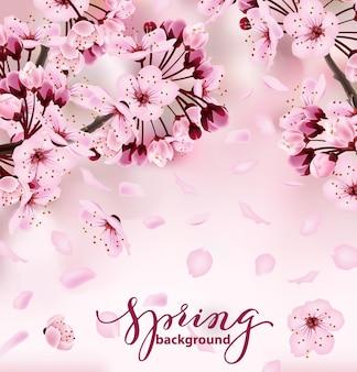 Bella stampa con fiori di sakura in fiore rosa scuro e chiaro sfondo primaverile