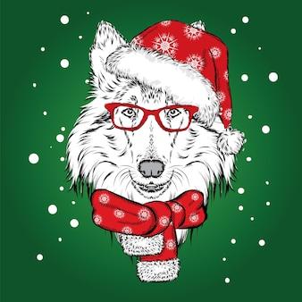 Un bellissimo cucciolo con un cappello e una sciarpa invernali. cane. collie. illustrazione