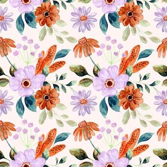 Modello senza cuciture dell'acquerello di bellissimo fiore marrone viola