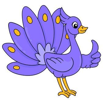 Un bellissimo pavone viola con bellissime piume, illustrazione vettoriale. scarabocchiare icona immagine kawaii.