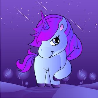 Bella testa di unicorno viola e rosa illustrazione
