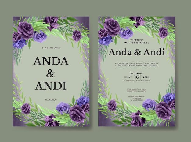 Modello di carta di invito matrimonio bellissimo fiore rosa viola