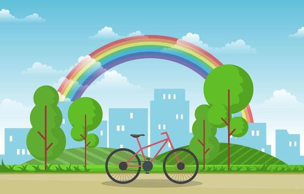 Bella illustrazione del paesaggio urbano di estate della città dell'arcobaleno