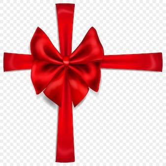 Bellissimo fiocco rosso con nastri trasversali con ombra, isolato su sfondo trasparente. trasparenza solo in formato vettoriale