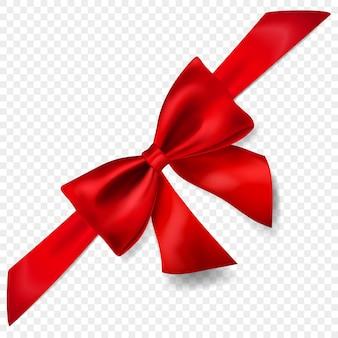 Bellissimo fiocco rosso con nastro diagonalmente con ombra, isolato su sfondo trasparente. trasparenza solo in formato vettoriale