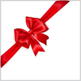 Bellissimo fiocco rosso con nastro in diagonale