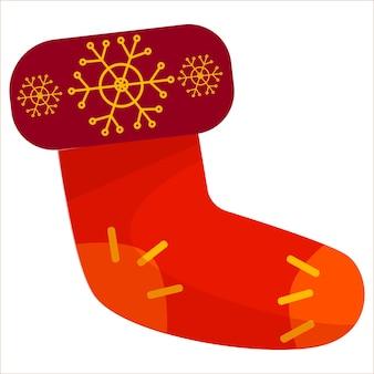 Un bel calzino rosso di natale per i regali illustrazione su sfondo bianco