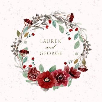 Corona dell'acquerello bellissimo fiore rosso