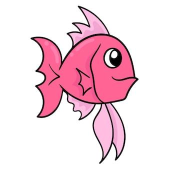 Bellissimo pesce ornamentale rosso, emoticon di cartone di illustrazione vettoriale. disegno dell'icona scarabocchio