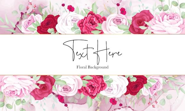 Bellissimo sfondo cornice floreale rossa e rosa con elegante inchiostro alcolico