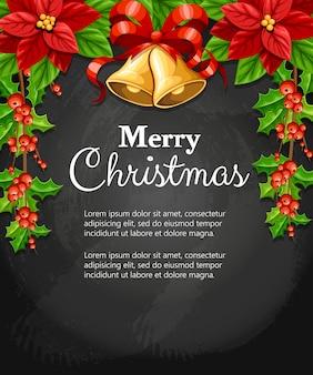 Bellissimo fiore rosso poinsettia e vischio con foglie verdi e due campanelli jingle con fiocco rosso decorazione natalizia illustrazione su sfondo nero con posto per il testo