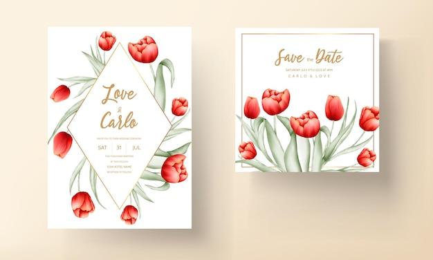 Modello di carta di nozze fiore bellissimo tulipano rosso