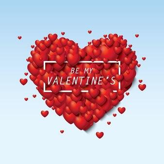 Bellissimo cuore rosso e bianco san valentino vendita con testo