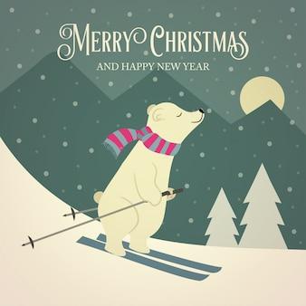 Bella retro cartolina di natale con orso polare