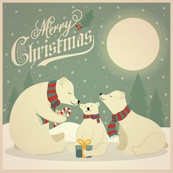 Bella retro cartolina di natale con la famiglia di orsi polari