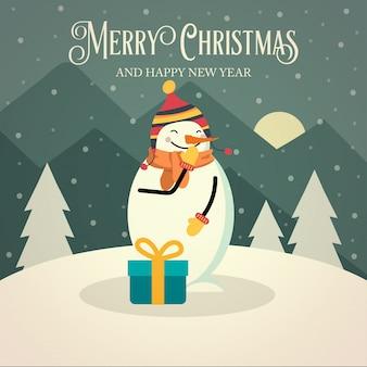 Bella retro cartolina di natale con pupazzo di neve