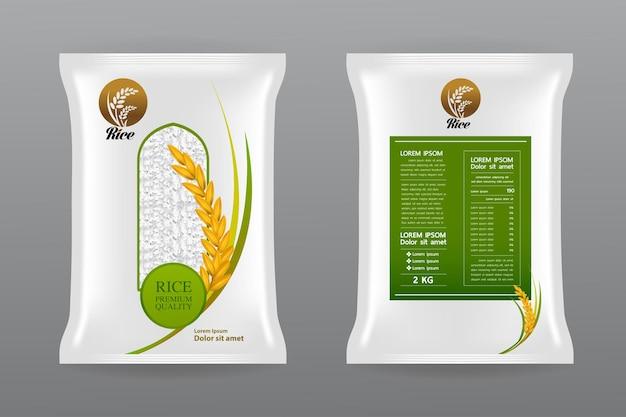 Bella illustrazione del pacchetto del prodotto di riso