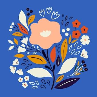 Bella illustrazione botanica romantica con fiori, foglie, mazzi di fiori, composizioni floreali.