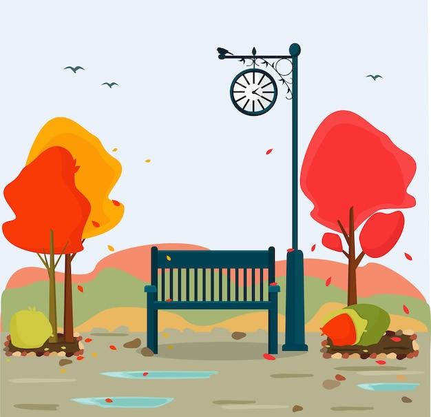 Bellissimo paesaggio romantico. vista autunnale del parco con un orologio stradale e una panchina.