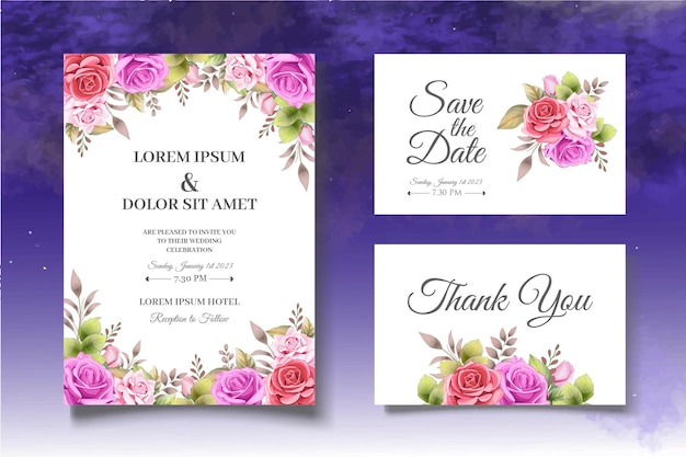 Modello di carta di invito floreale di belle rose