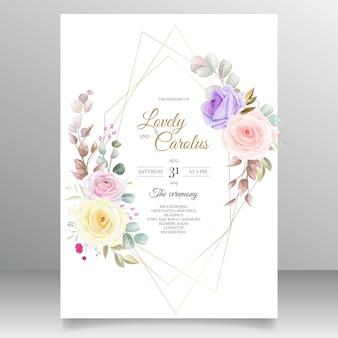Disegni del modello della carta dell'invito del fiore delle belle rose