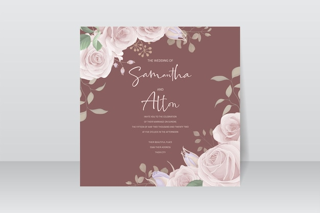 Modello di biglietto d'invito con bellissime rose