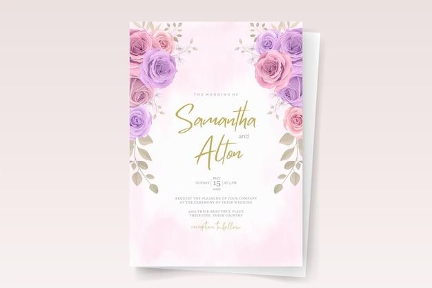 Modello di biglietto d'invito con bellissime rose Vettore Premium