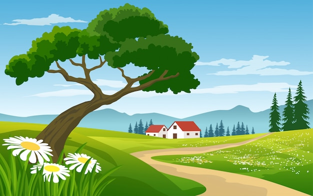 Bellissimo paesaggio rurale con case