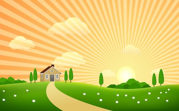 Bellissimo paesaggio rurale con tramonto e casa