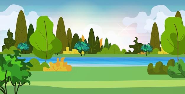 Bellissimo scenario nella natura del fiume con alberi intorno all'illustrazione orizzontale di vettore del fondo del paesaggio estivo