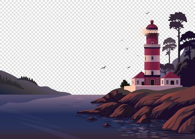 Bellissimo paesaggio marino con un faro sulla scogliera su sfondo trasparente