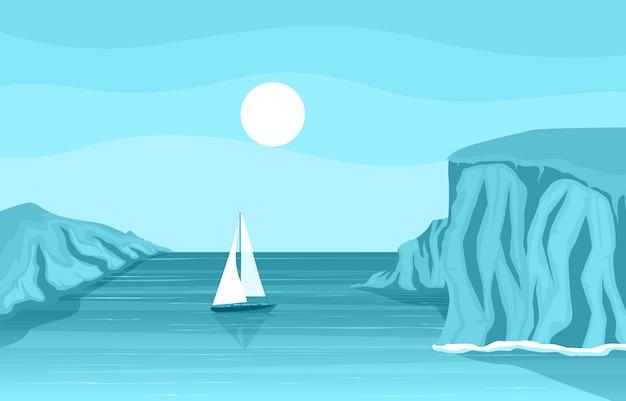 Bella illustrazione del paesaggio dell'oceano della baia della costa della spiaggia di panorama del mare