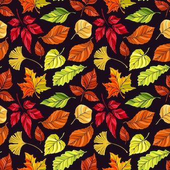 Bellissimo sfondo senza soluzione di continuità di diverse foglie di autunno su uno sfondo scuro. illustrazione disegnata a mano