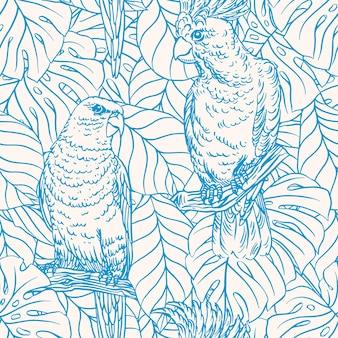 Bellissimo sfondo senza soluzione di continuità con pappagalli blu e foglie di palma