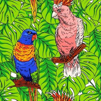 Bellissimo sfondo senza soluzione di continuità con pappagalli colorati e foglie di palma verdi