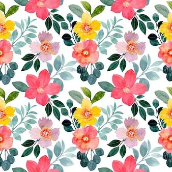 Bello modello senza cuciture con acquerello floreale colorato