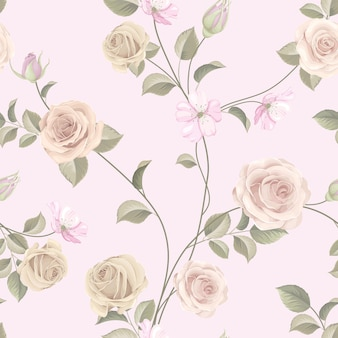 Bello modello senza cuciture con rose colorate